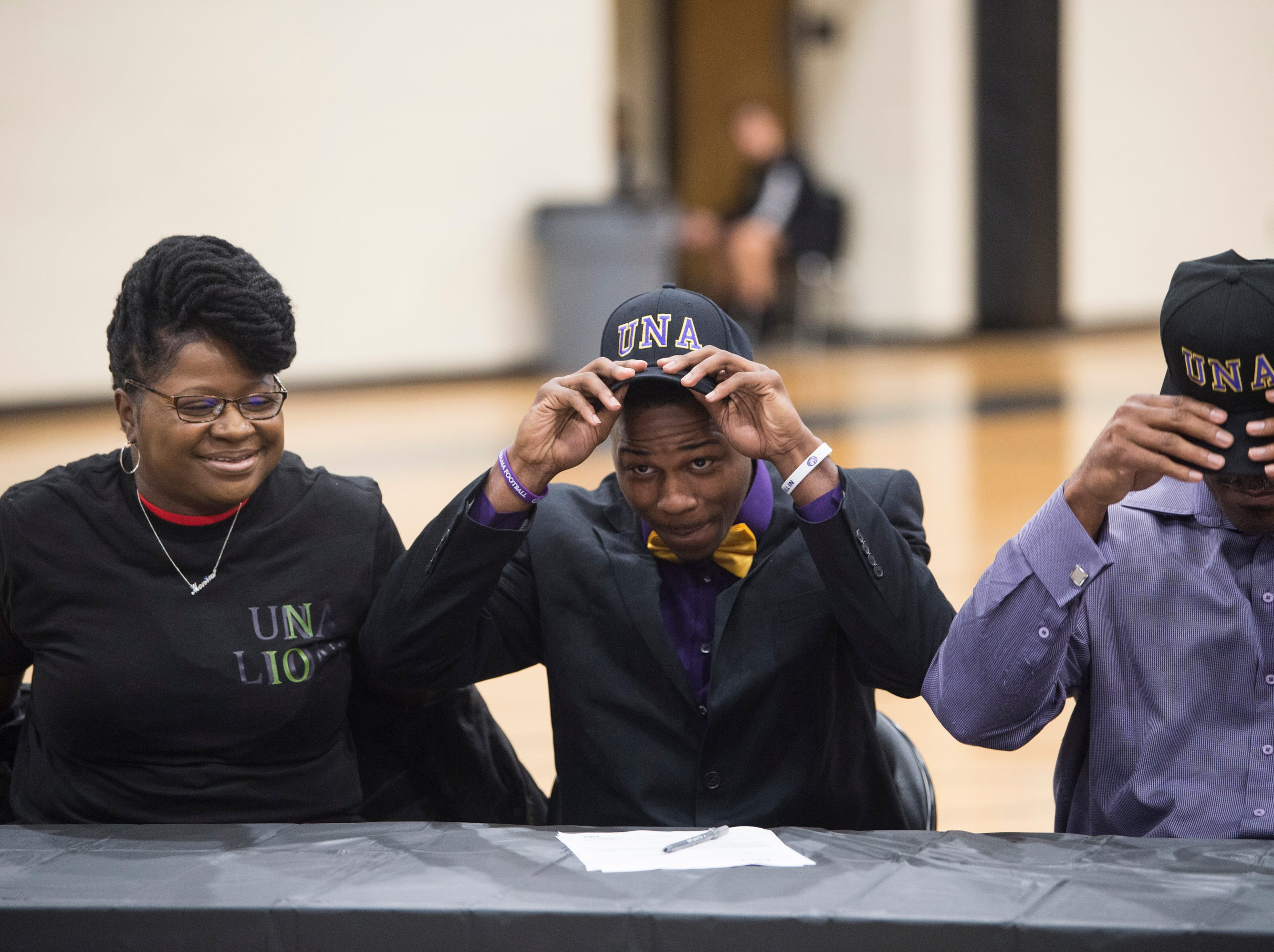 EJ Rogers signs his letter of intent to Northern Alabama University during signing day at Wetumpka High School in Wetumpka, Ala., on Wednesday, Feb. 6, 2019.