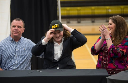 Colton Adams announces is signing to Alabama State during signing day at Wetumpka High School in Wetumpka, Ala., on Wednesday, Feb. 6, 2019.
