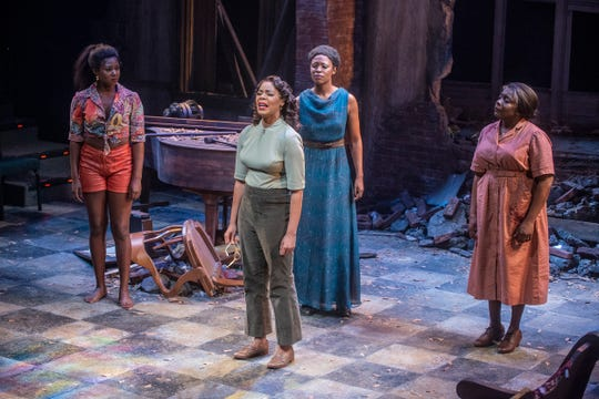 "Gabrielle Beckford, Soara-Joye Ross, Crystal Sha'nae and Darlene Hope in a scene from ""Nina Simone: Four Women"" at the Alabama Shakespeare Festival in Montgomery."