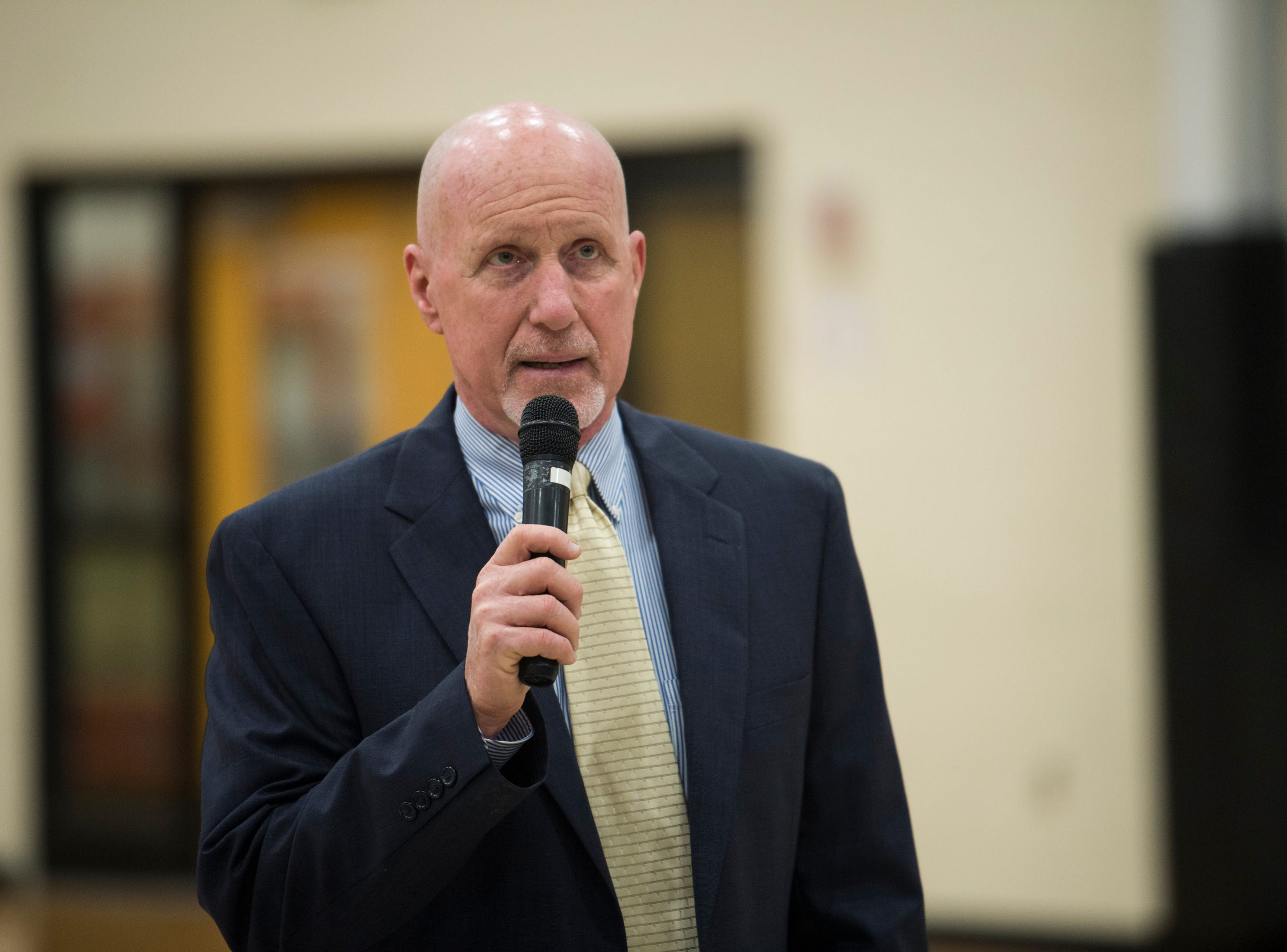 Wetumpka head coach Tim Perry speaks during signing day at Wetumpka High School in Wetumpka, Ala., on Wednesday, Feb. 6, 2019.