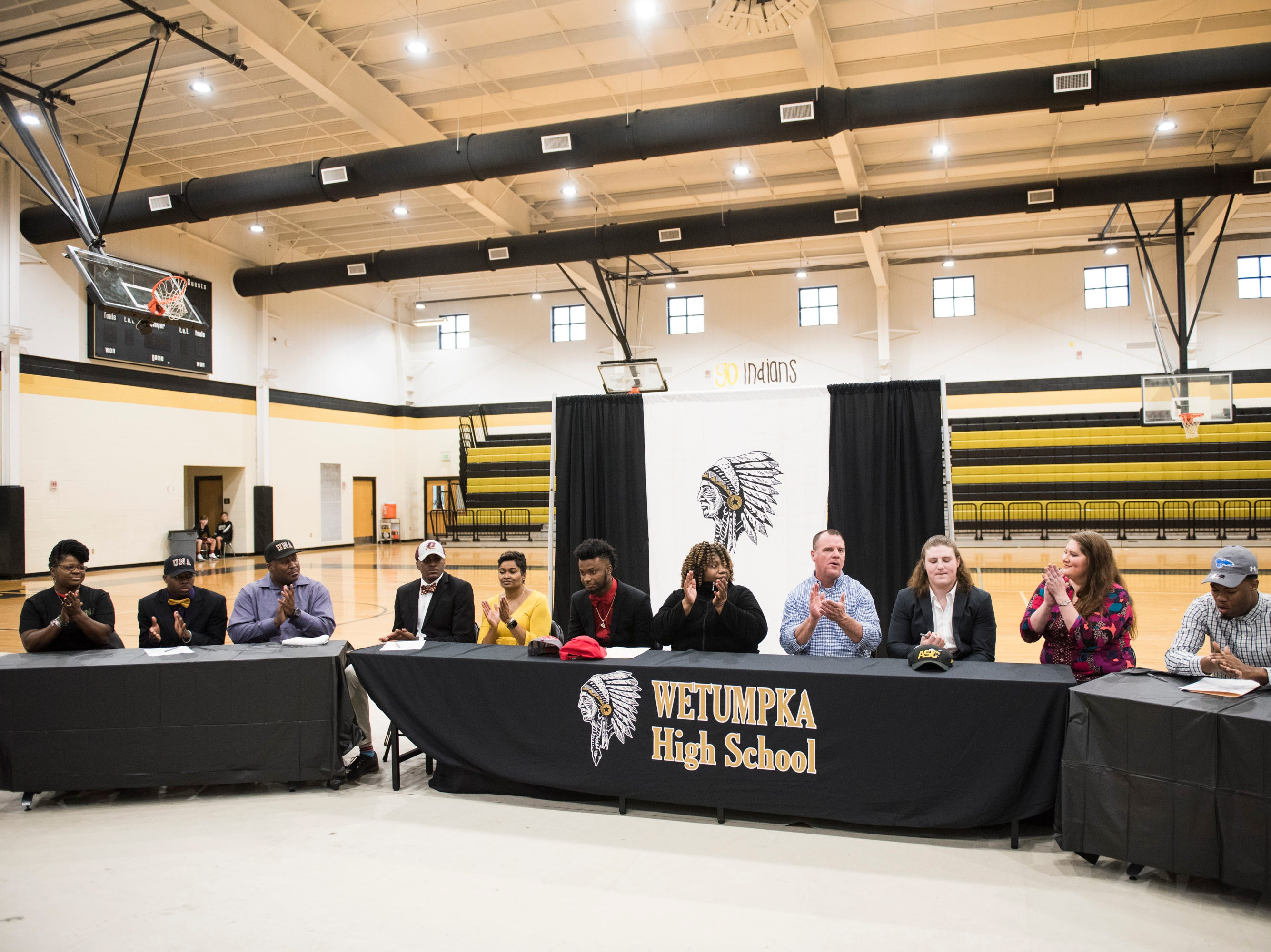 Five students sign their letter of intent during signing day at Wetumpka High School in Wetumpka, Ala., on Wednesday, Feb. 6, 2019.