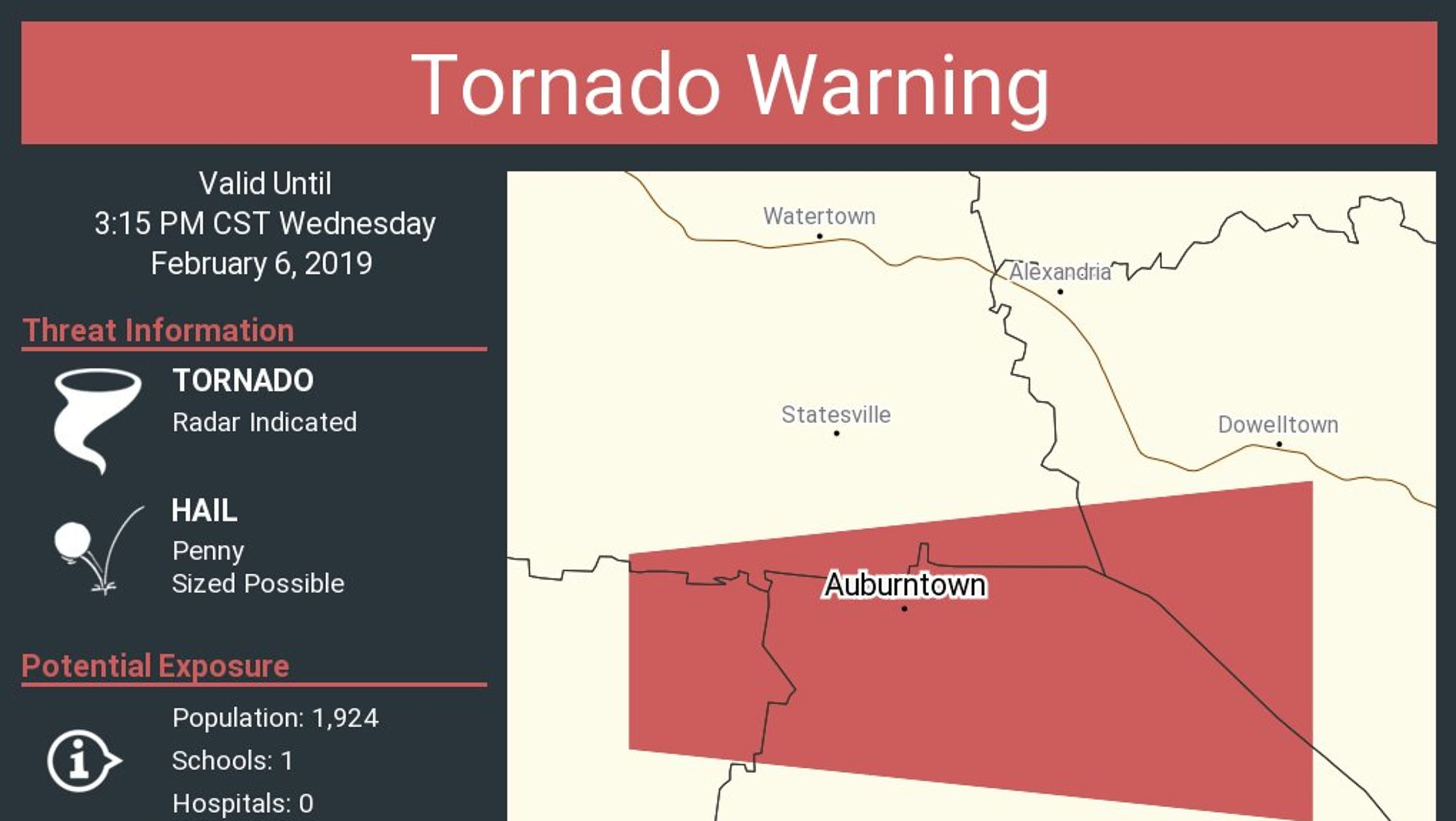 Tornado warning canceled in Middle Tennessee