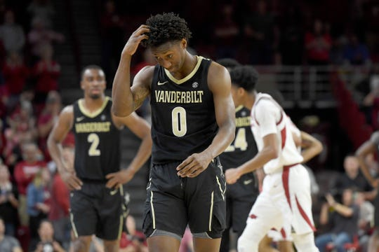 Vanderbilt guard Saben Lee (0) reacts after being called for an offensive against Arkansas during the second half of an NCAA college basketball game, Tuesday, Feb. 5, 2019 in Fayetteville, Ark.