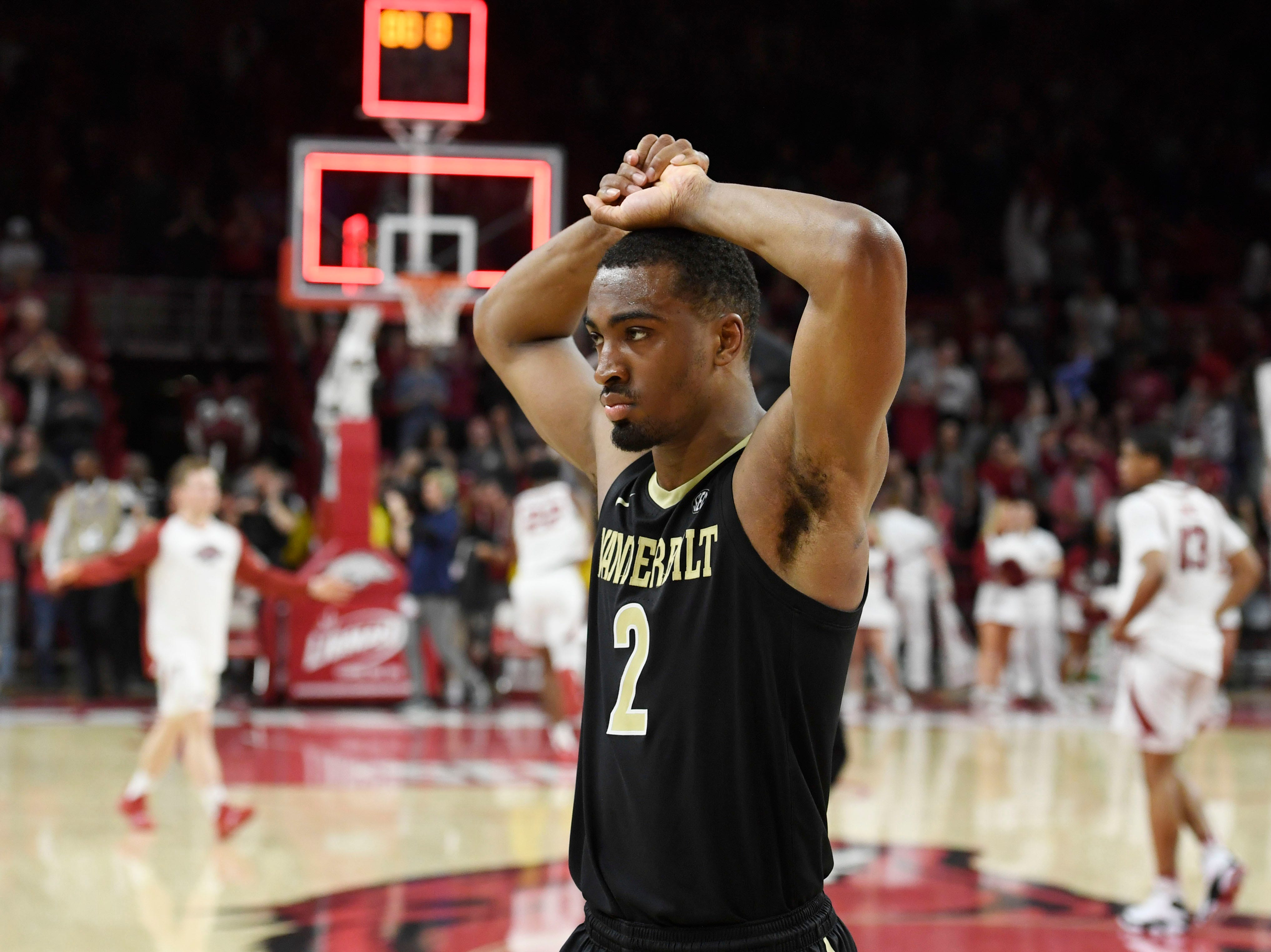 Vanderbilt guard Joe Toye (2) reacts after losing to Arkansas during the second half of an NCAA college basketball game, Tuesday, Feb. 5, 2019 in Fayetteville, Ark.