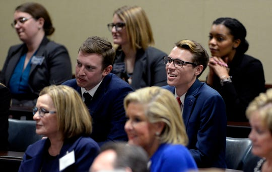 Students and faculity members listen as The Honorable John G. Roberts Jr., Chief Justice of the United States speaks at Belmont University Wednesday, Feb. 6, 2019, in Nashville, Tenn.