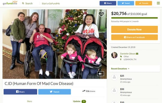 A screenshot of a GoFundMe page for the family of Tony Gibson, a Nashville man who died from the human form of mad cow disease on Jan. 30.