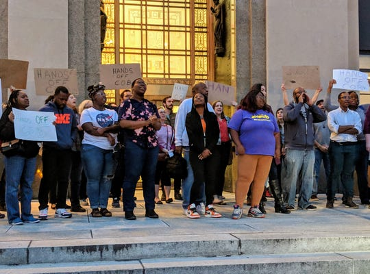 Community Oversight Now and other advocates held a press conference Tuesday protest state lawmakers move to limit police oversight.