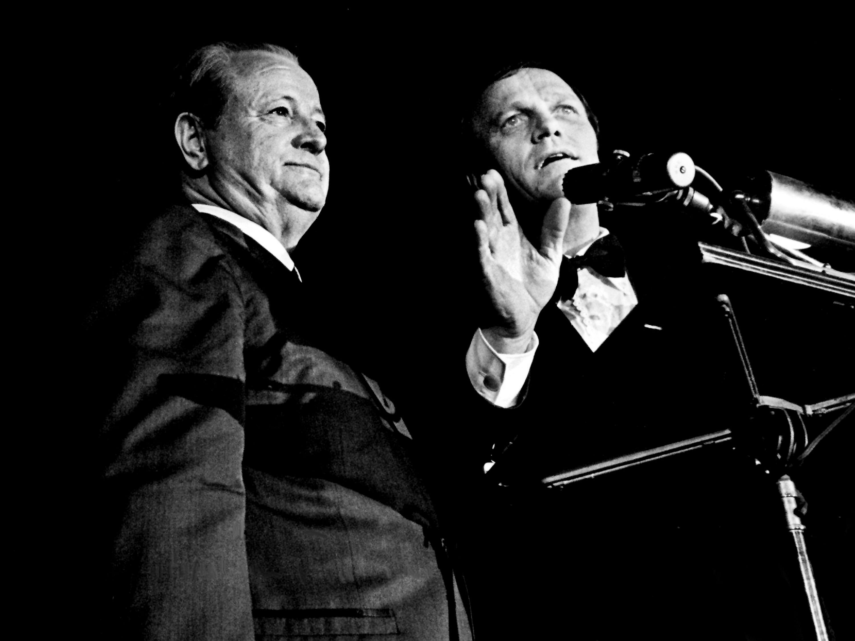 "Eddy Arnold, right, introduce a surprise guest, Gene Austin, left, who wrote such classics as ""Lonesome Road,"" ""This Train,"" ""Melancholy Baby,"" and ""My Blue Heaven"" during the 11th annual Grammy Award show at the National Guard Armory in Nashville March 12, 1969."