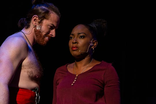 """Main characters Radames and Aid, played by Natale Pirrotta and Cherry Hamlin, perform the dress reherseal for """"Aida,"""" the Elton John-Tim Rice rock/ballad/pop version of the famous opera story in Naples on February 5, 2019."""