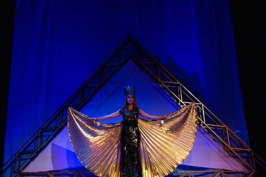 "Amernis, played by Kara Konken, opens the dress reherseal for ""Aida,"" the Elton John-Tim Rice rock/ballad/pop version of the famous opera story in Naples on February 5, 2019."