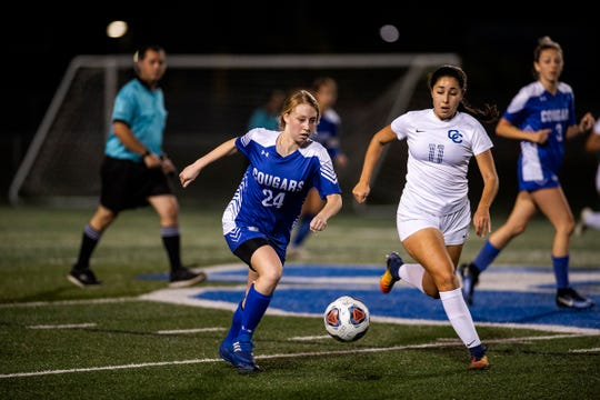 Scenes from the Class 3A girls soccer regional quarterfinal with Barron Collier High School against Cape Coral High School in Naples, Fla., on Tuesday, Feb. 5, 2019.