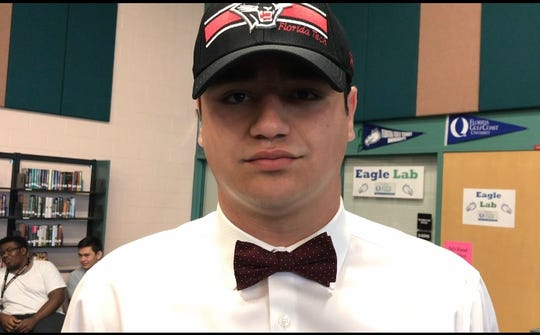 Gulf Coast High School football player Kenneth Martin signed with Division II Florida Tech on Wednesday, Feb. 6, 2019.