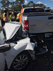 A Collier County Sheriff's deputy was injured on Feb. 6, 2019, after his patrol vehicle was struck from behind by a person driving a Toyota.