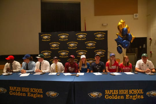 Ten Naples High School athletes signed letters of intent with various colleges on National Signing Day in Naples on February 6, 2019.