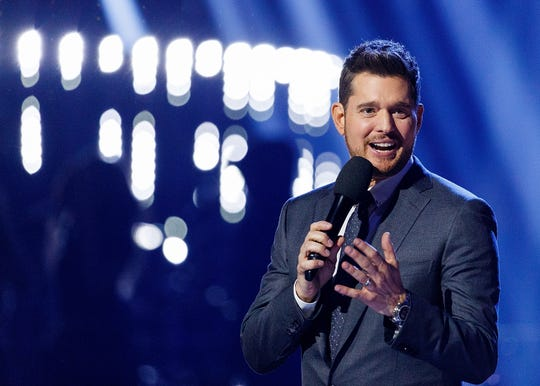 VANCOUVER, BC -  Singer Michael Buble speaks on stage during the 2018 JUNO Awards at Rogers Arena on March 25, 2018, in Vancouver, Canada.