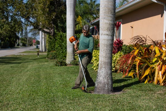 Lee Haddox does landscape work in Naples on Wednesday, Feb. 6, 2019.