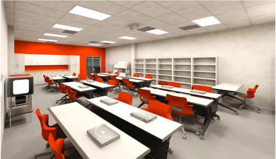 A rendering of a planned makerspace in the Glen Rock Middle/High School media center.