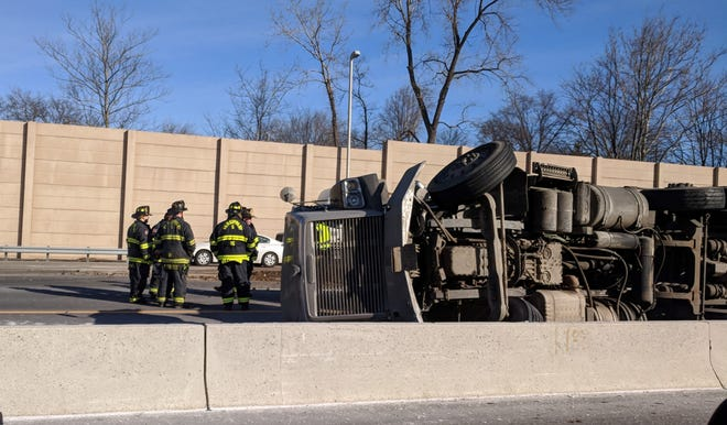Overturned tractor trailer on Route 80 on Feb. 6, 2019.