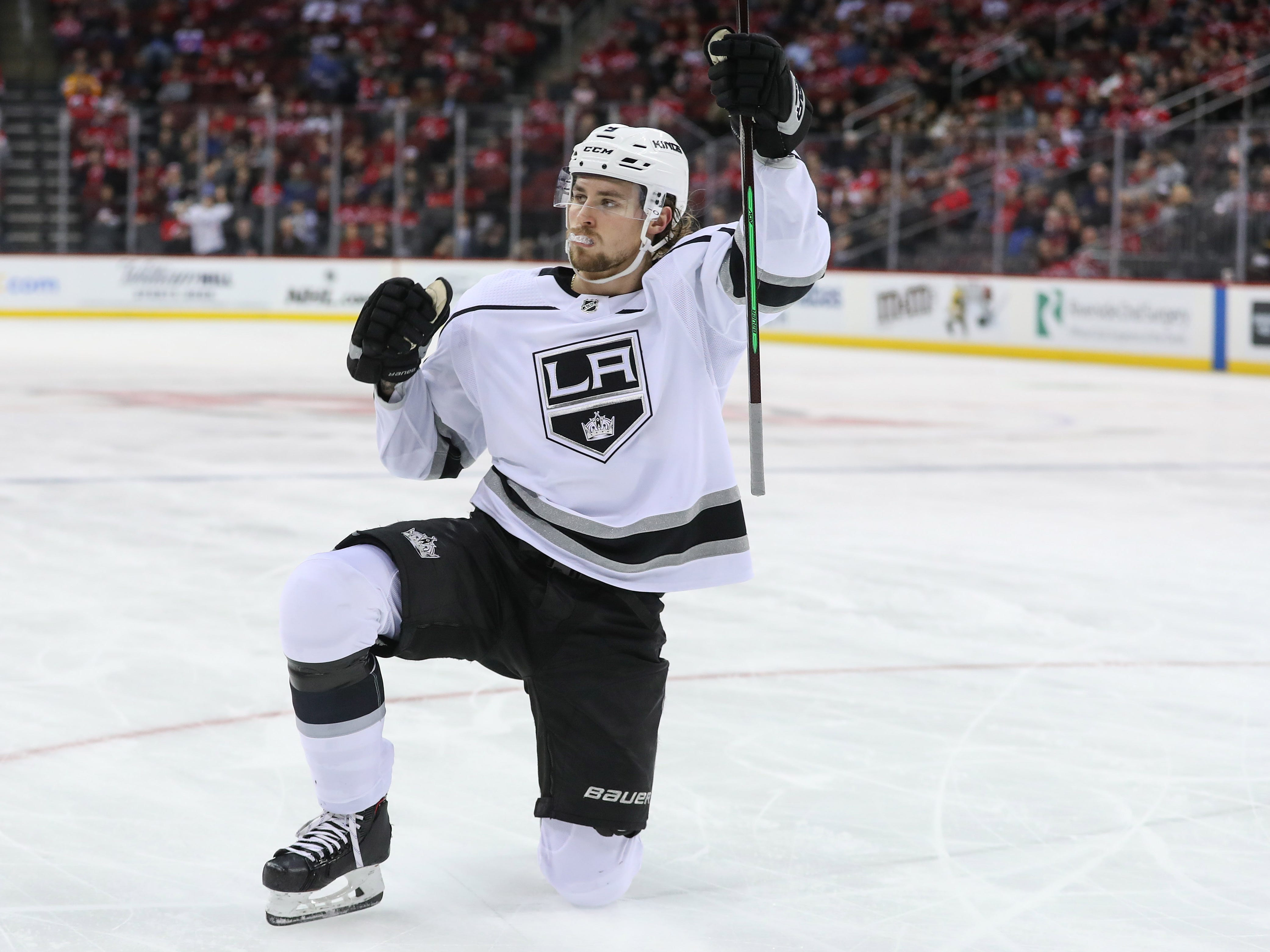 Feb 5, 2019; Newark, NJ, USA; Los Angeles Kings center Adrian Kempe (9) celebrates after scoring a goal during the first period against the New Jersey Devils at Prudential Center.