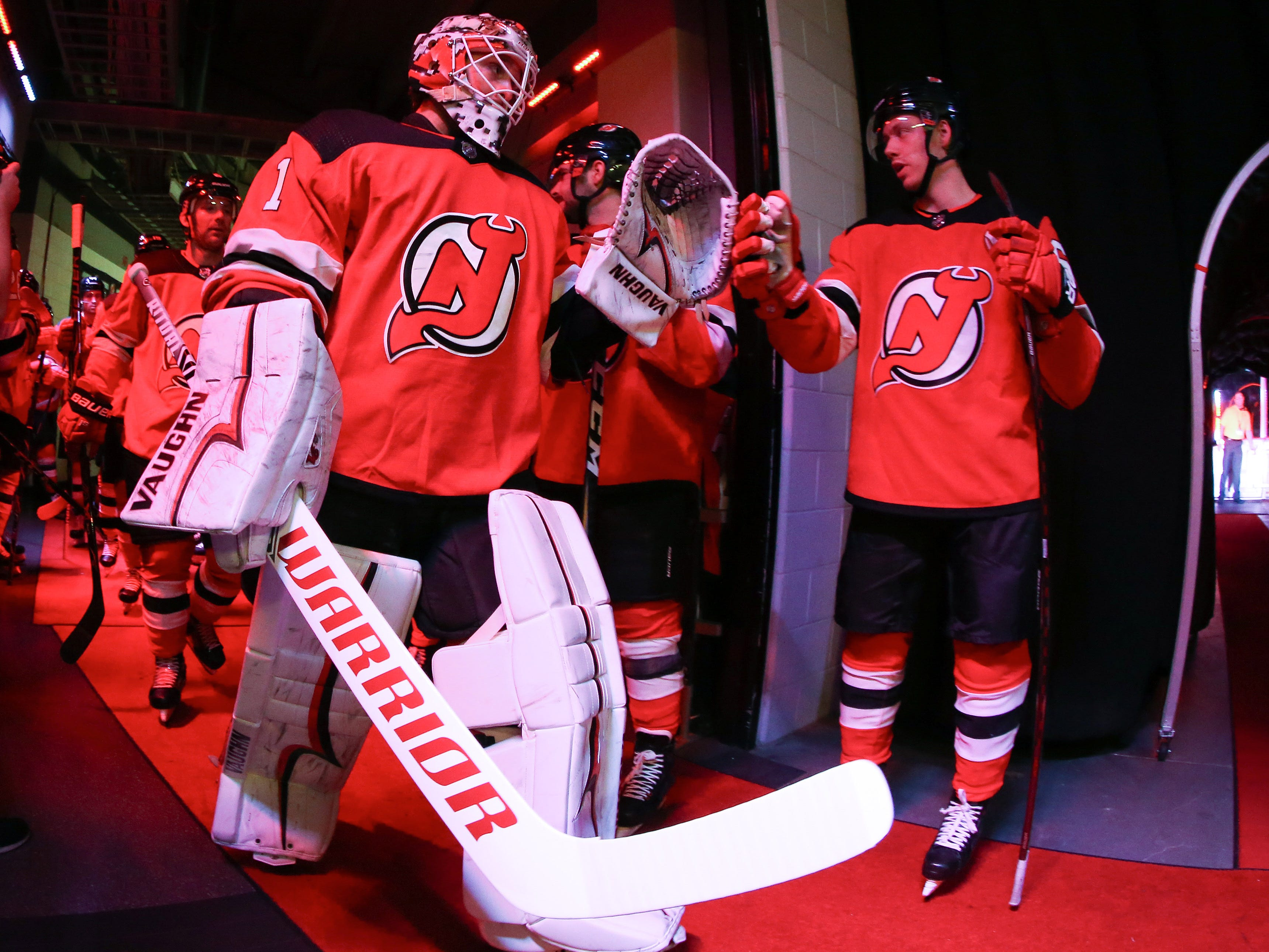 Feb 5, 2019; Newark, NJ, USA; New Jersey Devils goaltender Keith Kinkaid (1) walks to the ice prior to the game against the Los Angeles Kings at Prudential Center.