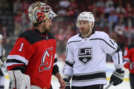 Feb 5, 2019; Newark, NJ, USA; New Jersey Devils goaltender Keith Kinkaid (1) skates past Los Angeles Kings left wing Ilya Kovalchuk (17) during the first period at Prudential Center.
