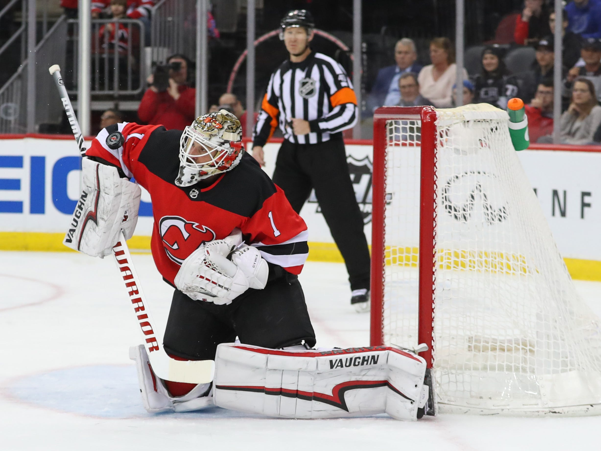 Feb 5, 2019; Newark, NJ, USA; New Jersey Devils goaltender Keith Kinkaid (1) makes a save during the first period of their game against the Los Angeles Kings at Prudential Center.