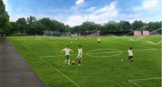 A rendering of planned improvements at Hamilton School sports field in Glen Rock.