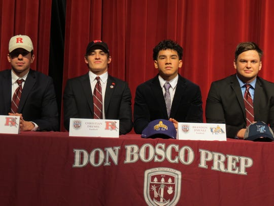 National Signing Day for Don Bosco football  included, from left, Guy Fava (Rutgers), Christian Dremel (Rutgers), Brandon Jimenez (Albany) and Johnny Alvarado (Rhode Island).