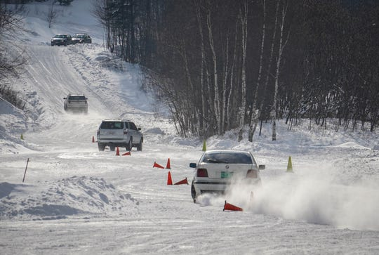 Drivers take part in a course to help better navigate snowy roads.