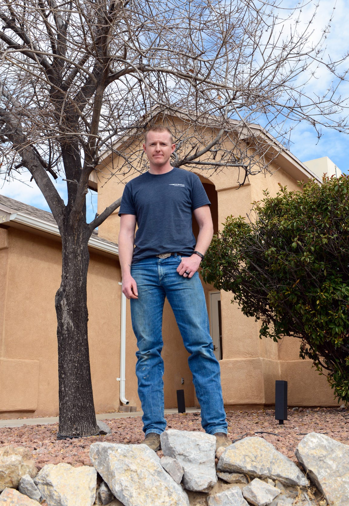 Travis Hart, a Las Cruces firefighter, is believed to have contracted valley fever at age 19 while working as a landscaper. He's seen here in January 2019.