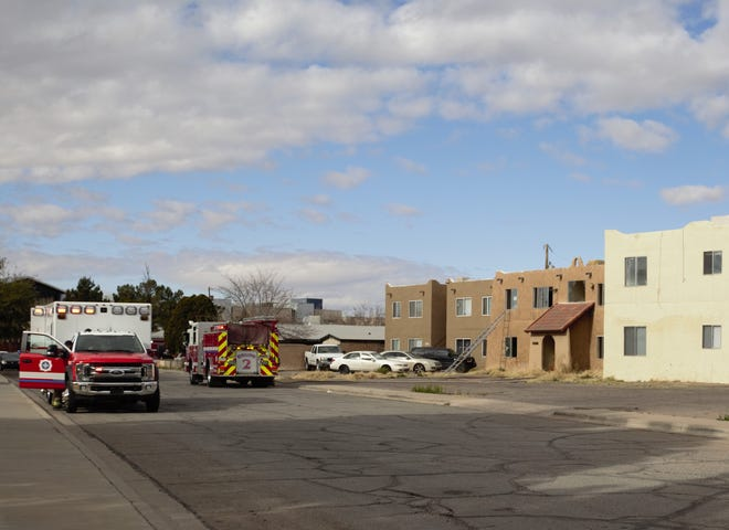 A ladder from a Las Cruces fire crew stands propped against an apartment complex on the 800 block of Parkview Drive where a fire started the morning of Wednesday, Feb. 6, 2019.