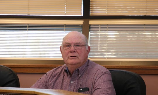 Eddy County Board of Commissioners vice chairman Ernie Carlson during a special meeting Feb. 6, canvassing a special mill levy election for the Loving Municipal Schools.