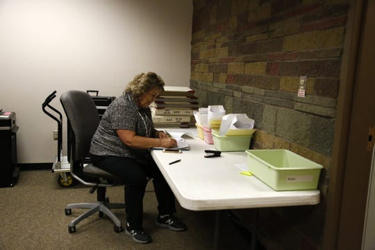 Election worker Sherri Sipe tallies ballots, Tuesday at San Juan County Clerk's Office in Aztec.
