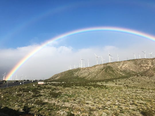 A double rainbow appears over Interstate 10 in Palm Springs, Feb. 5, 2019.