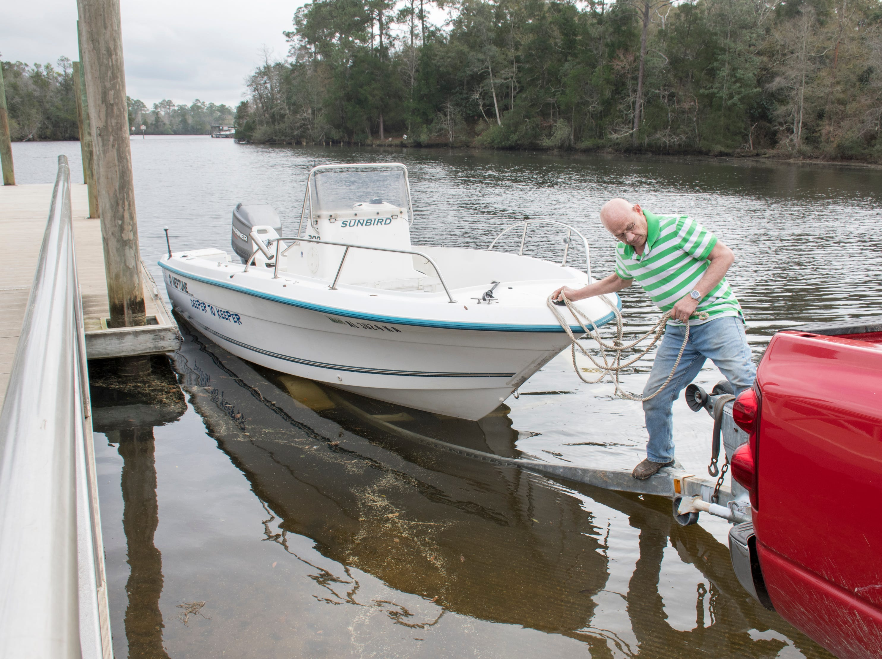 Michael Pickard, of Milton, gets set to launch his boat at Carpenters Park near the Milton Marina in Milton on Wednesday, February 6, 2019.