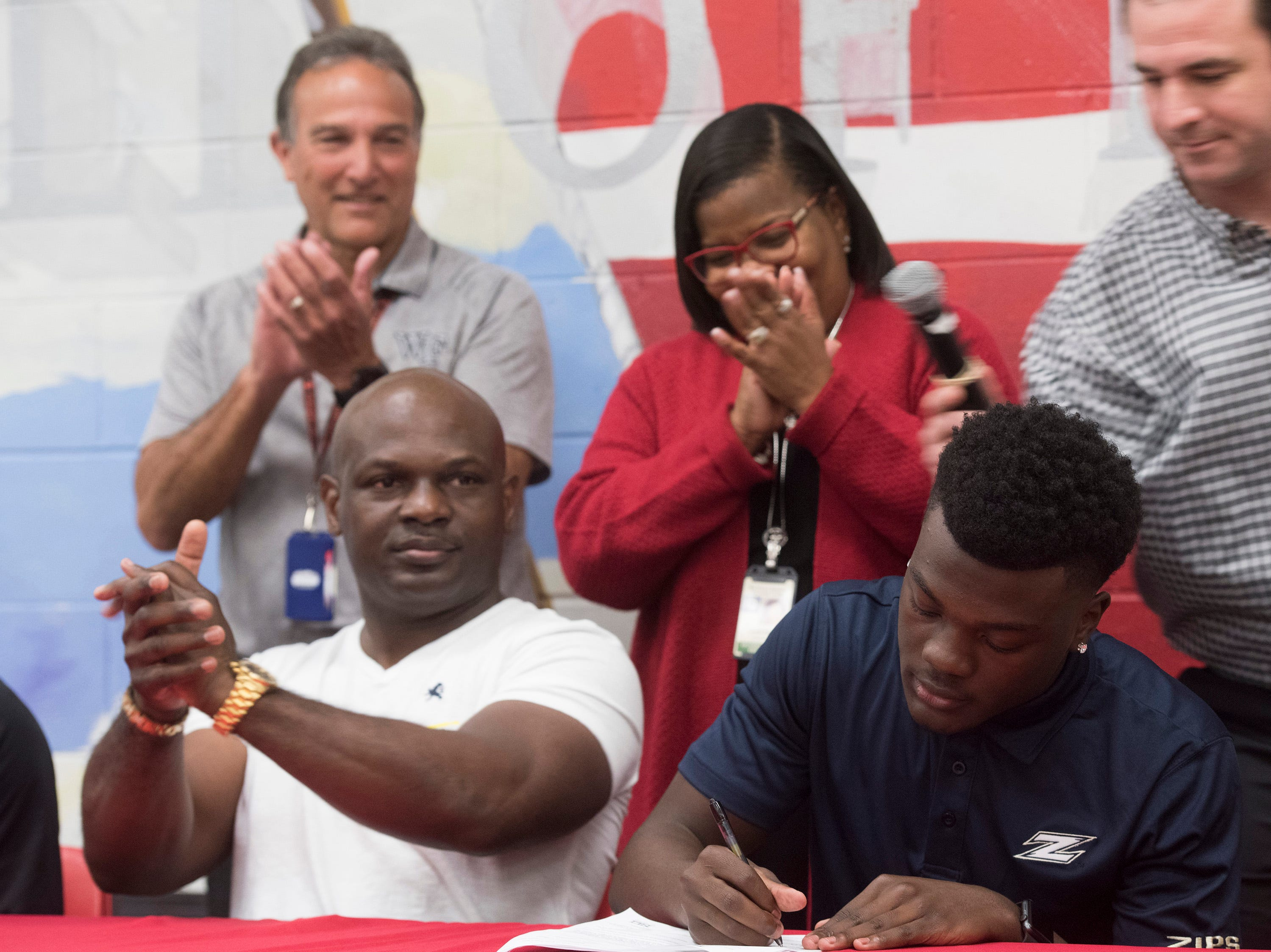 West Florida High School's Keyshawn Swanson commits to the University of Akron on National Signing Day on Wednesday Feb.6, 2019.