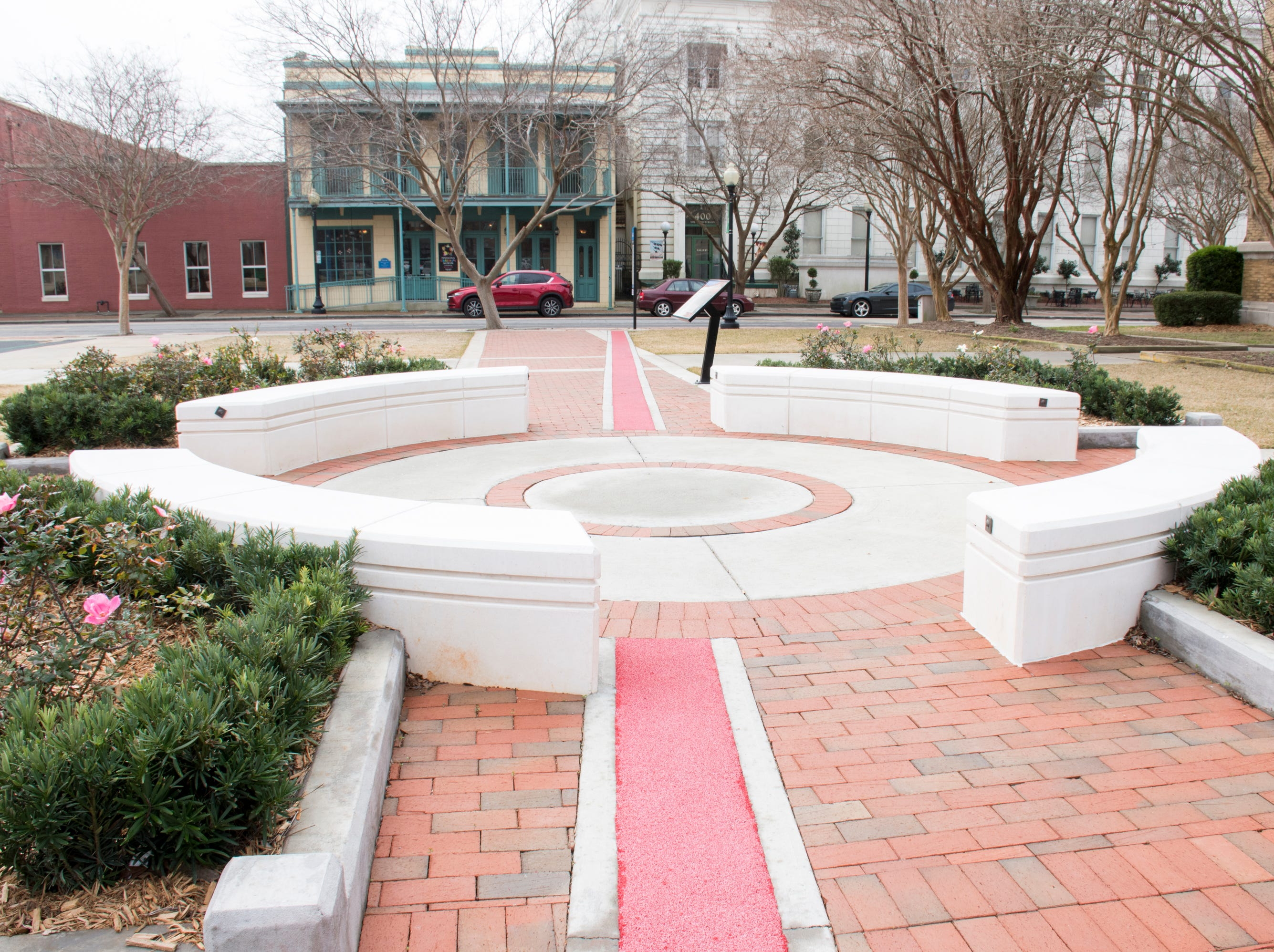 The storytelling circle at the Museum Plaza behind the T.T. Wentworth Museum in downtown Pensacola on Tuesday, February 5, 2019.
