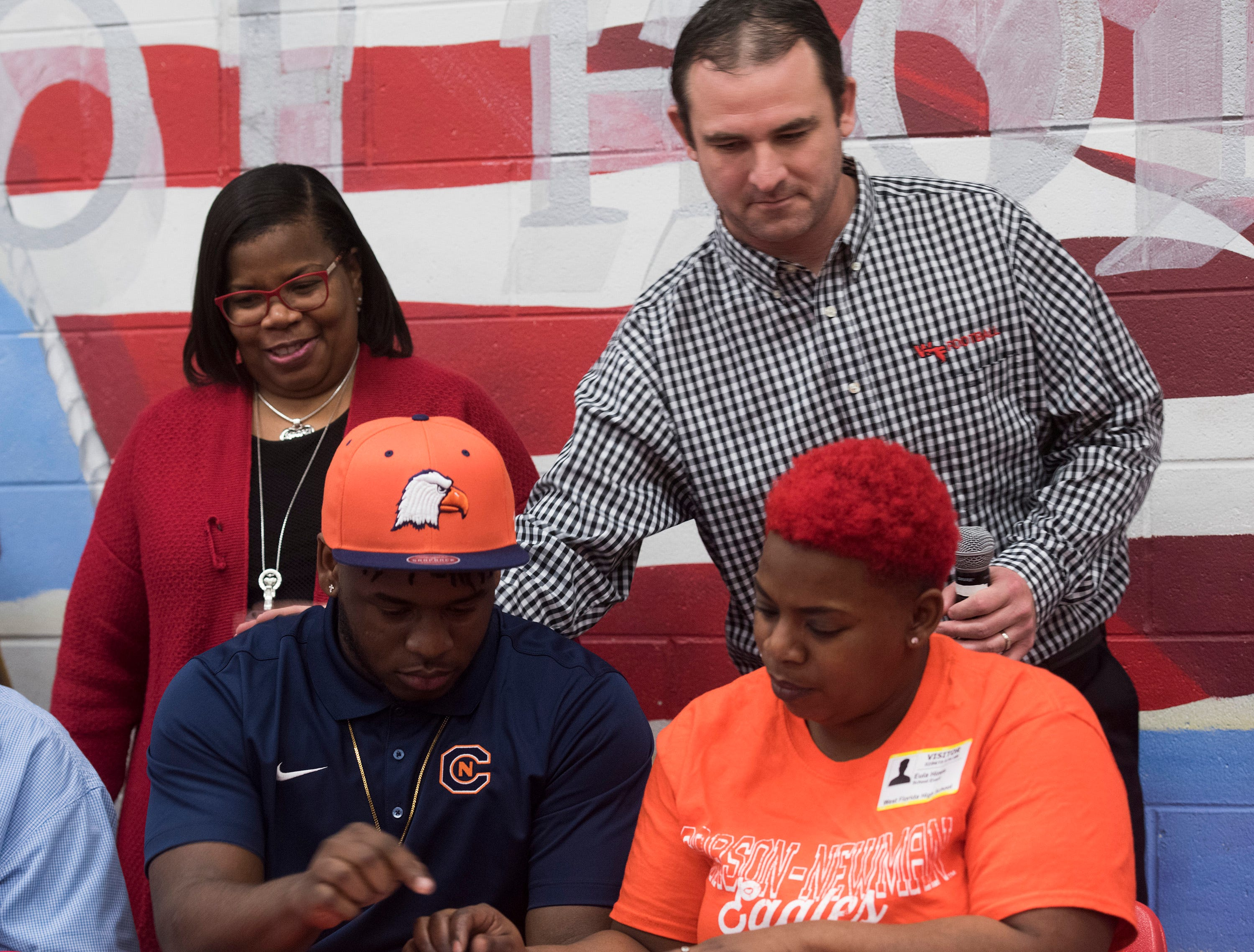 West Florida High School's Ladarian Nelson commits to the Carson Newman University on National Signing Day on Wednesday Feb.6, 2019.