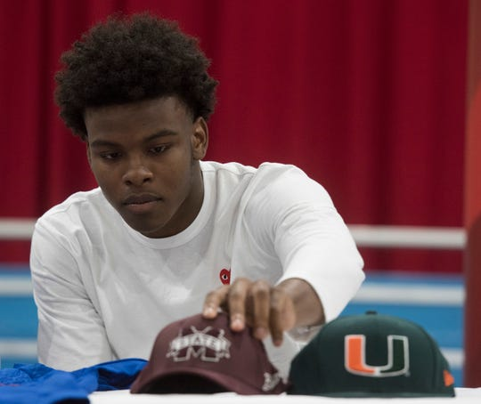 Pine Forest High School's Martin Emerson commits to the Mississippi State University over Miami on National Signing Day, Wednesday Feb.6, 2019.