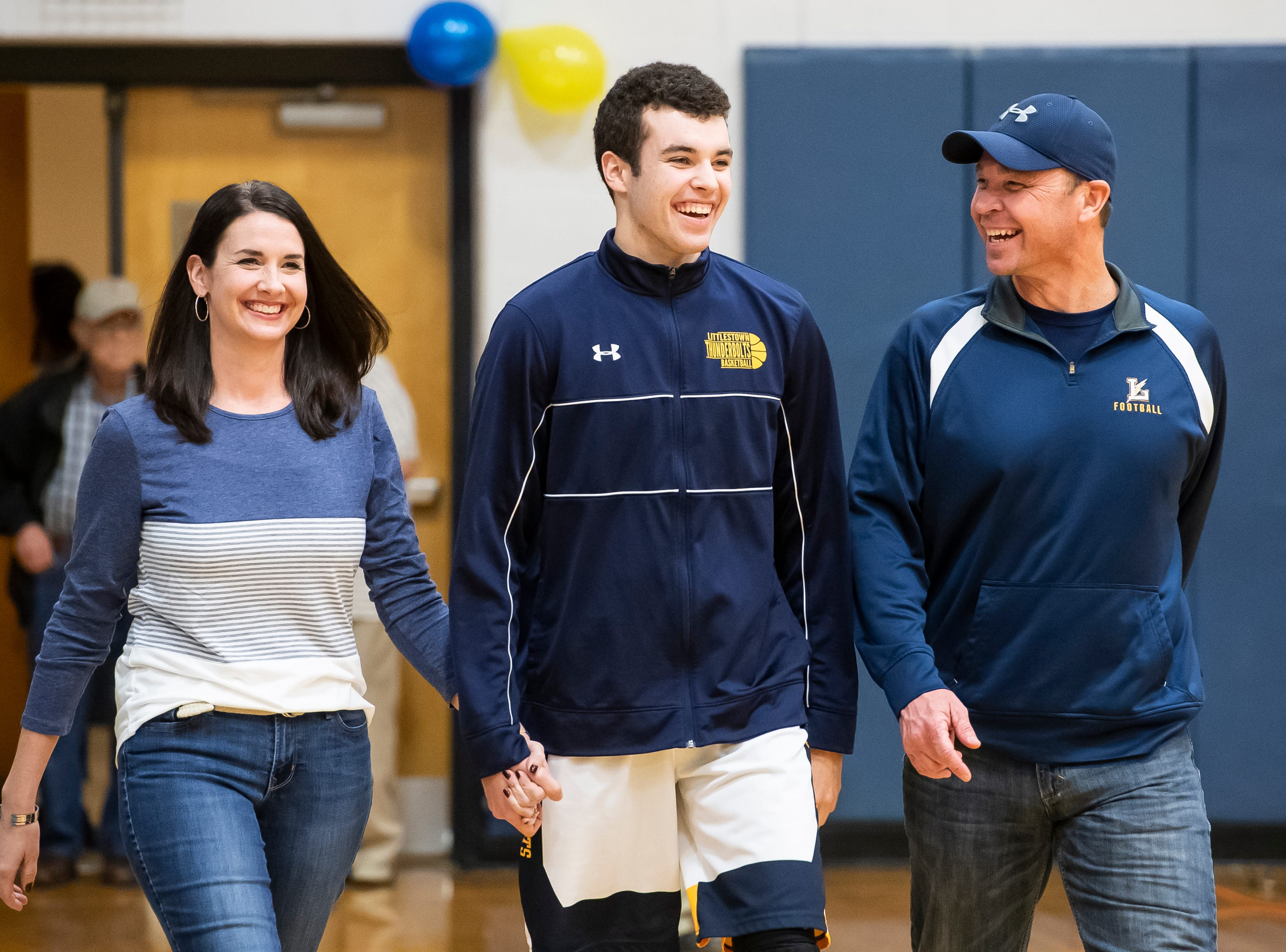 Littlestown's Jacob Thomas is honored during senior night Tuesday, February 5, 2019.