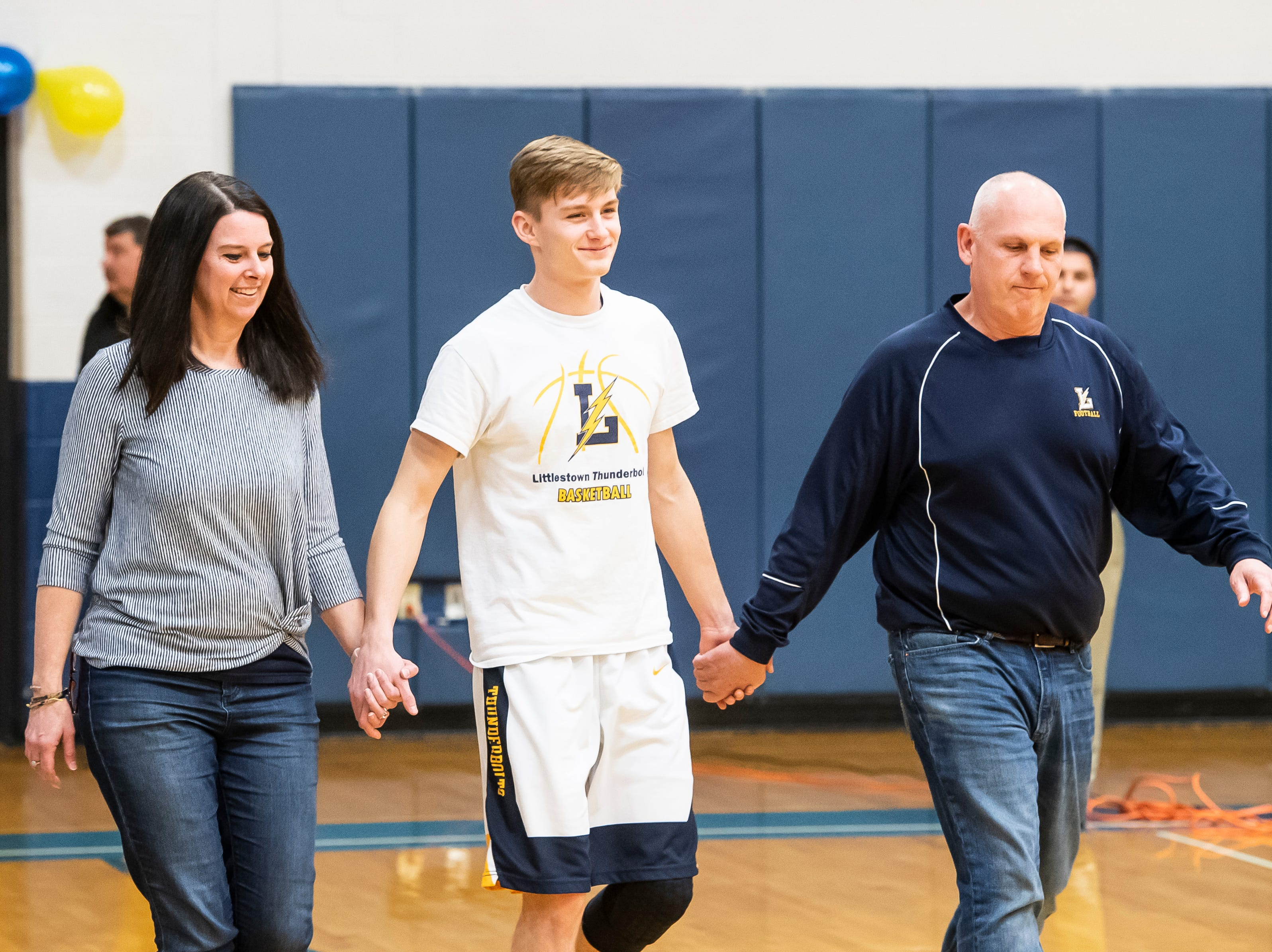 Littlestown's Jakob Lane is honored during senior night Tuesday, February 5, 2019.