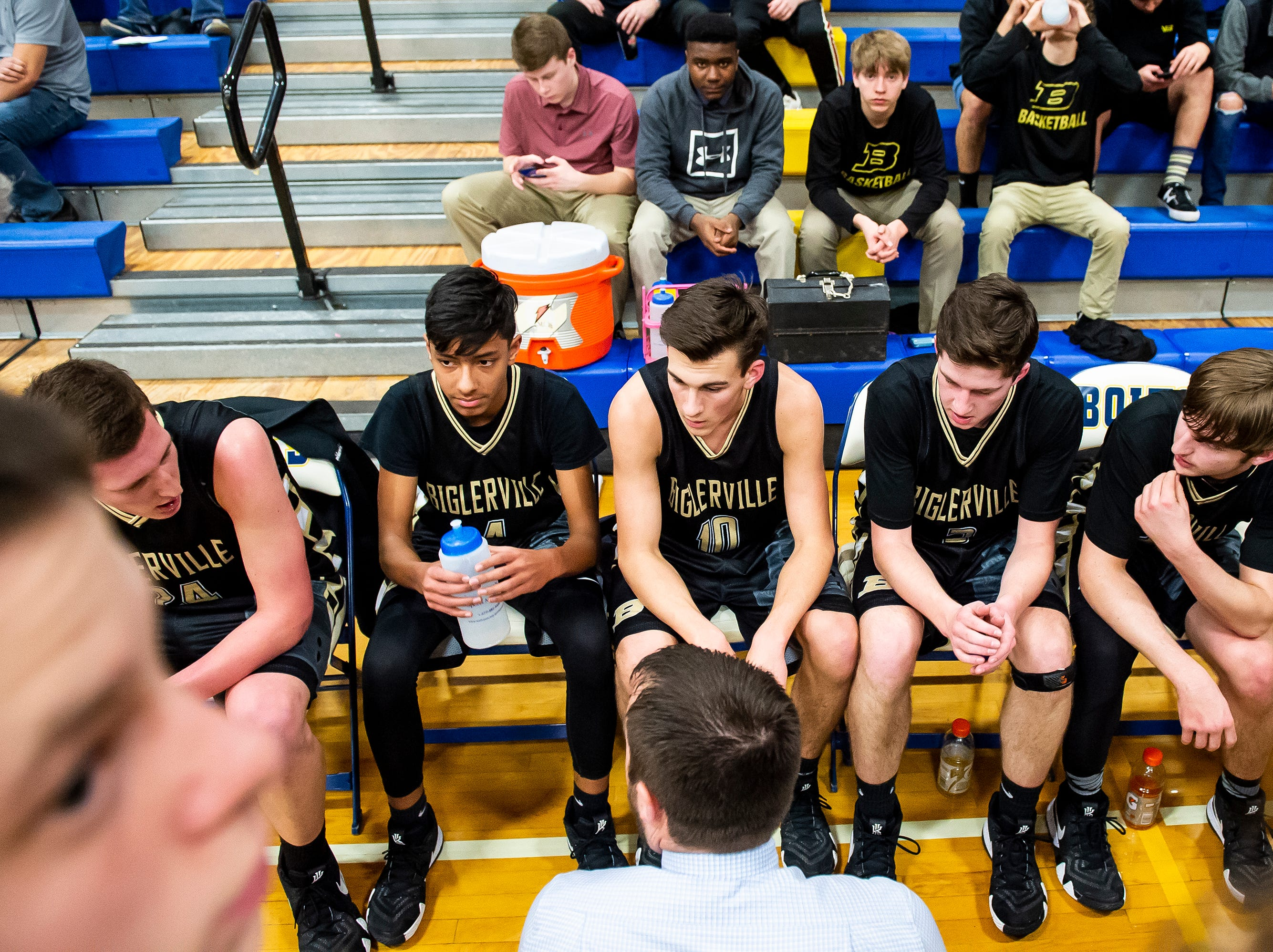 Biglerville head coach Brandon Staub speaks with his team during a game against Littlestown Tuesday, February 5, 2019. The Canners fell 54-46.
