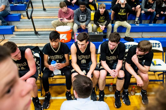 In this file photo, Biglerville head coach Brandon Staub speaks with his team during a game against Littlestown Tuesday, February 5, 2019.