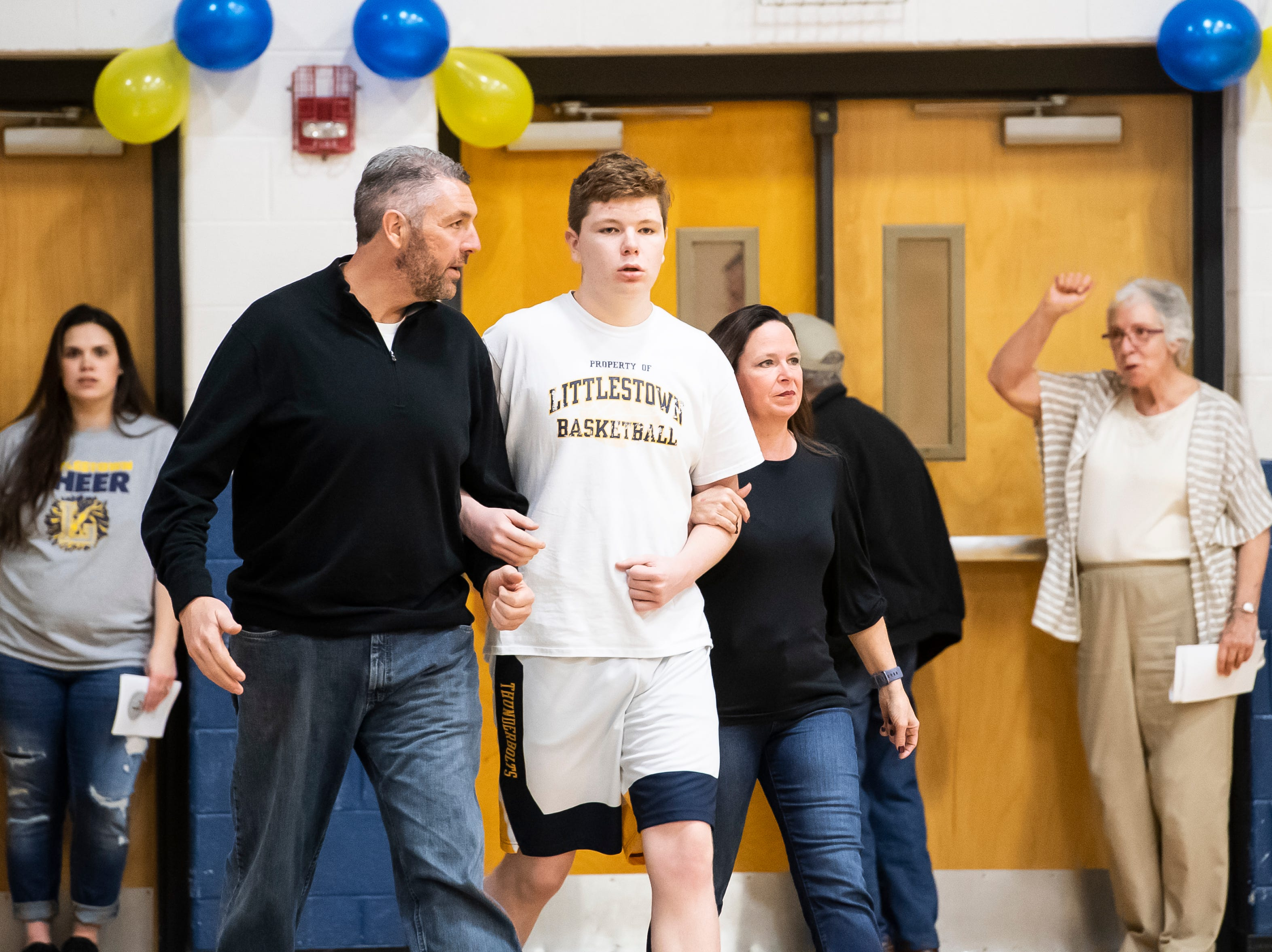 Littlestown's Lucca Abate is honored during senior night Tuesday, February 5, 2019.