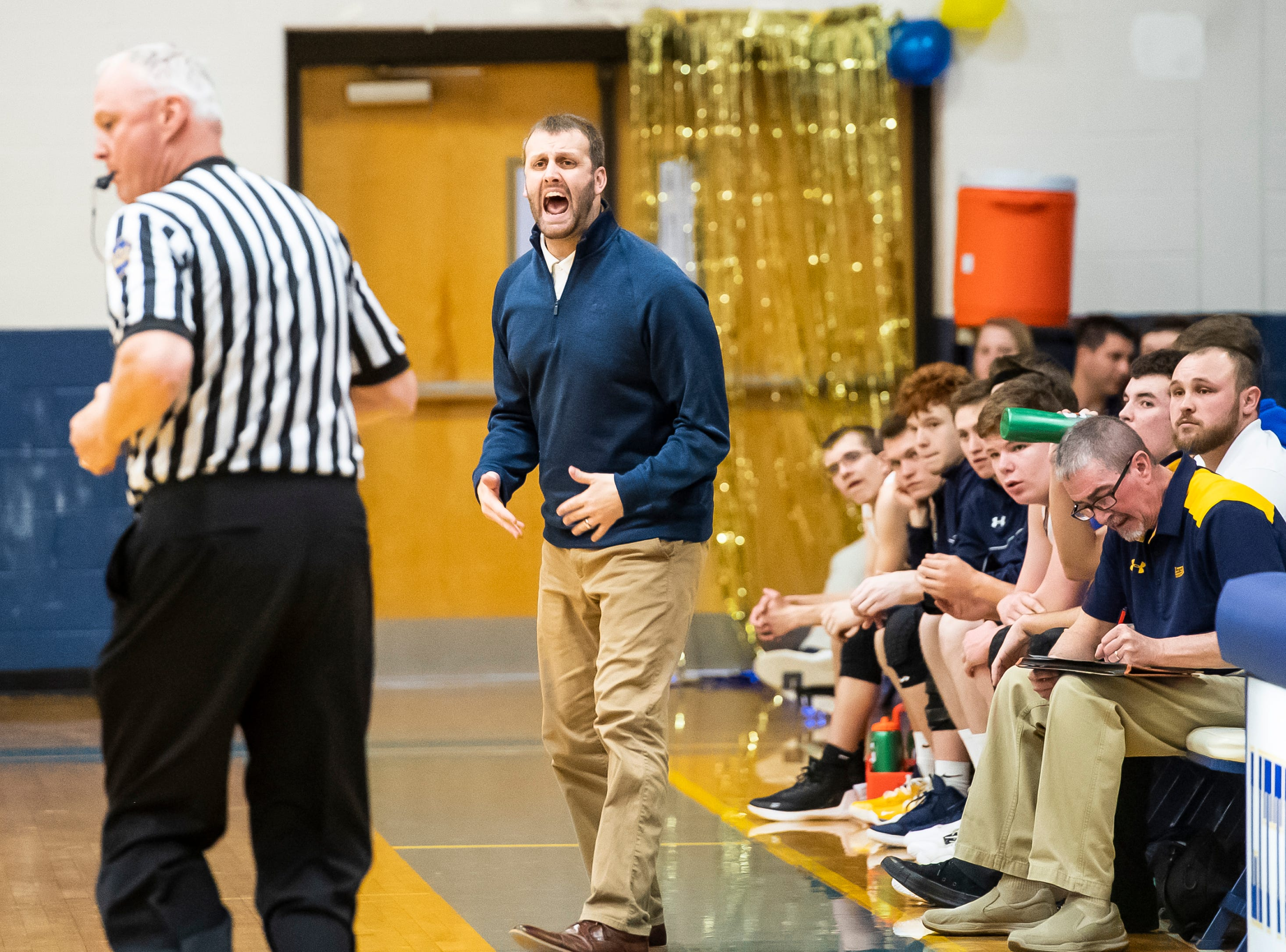 Littlestown head coach Jonathan Forster reacts after a non-call during play against Biglerville Tuesday, February 5, 2019. The Bolts won 54-46 on senior night.