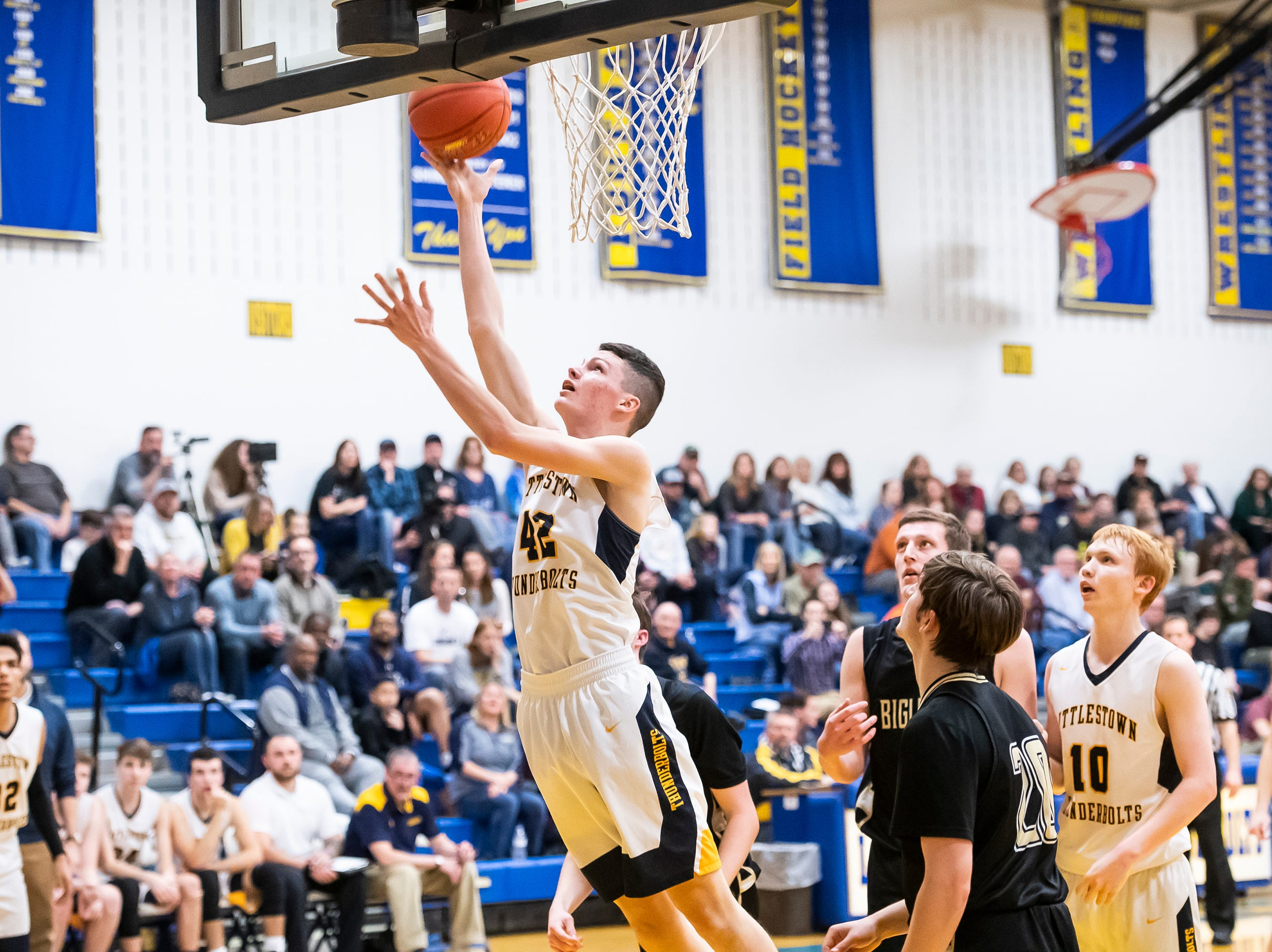 Littlestown's Brayden Staub scores on a layup during play against Biglerville Tuesday, February 5, 2019. The Bolts won 54-46 on senior night.