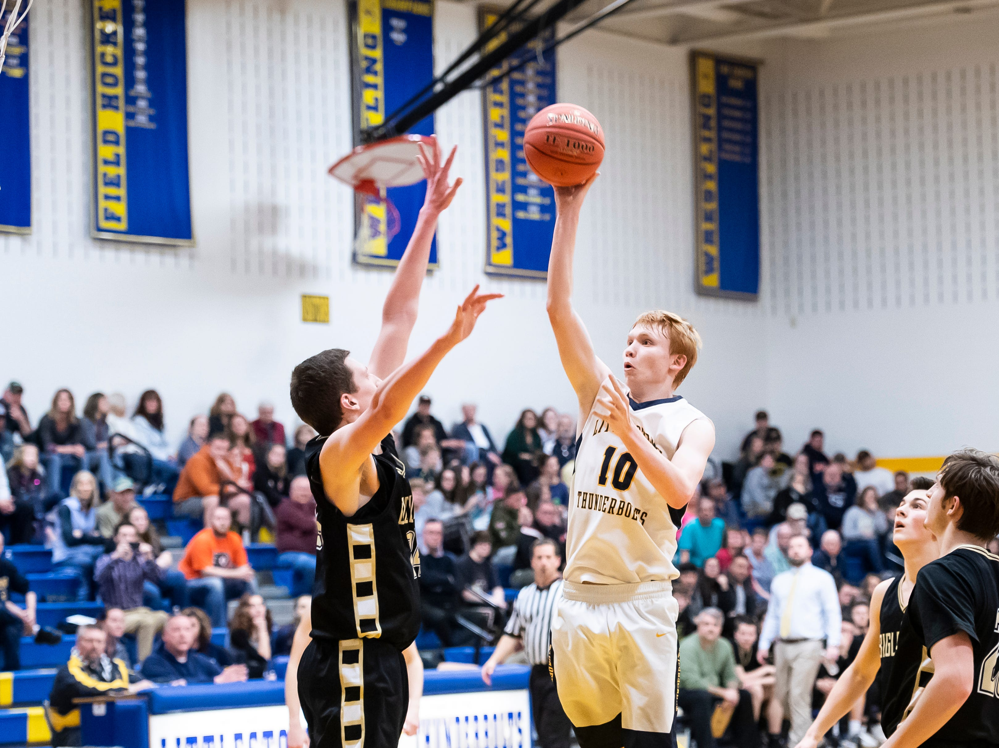 Littlestown's Daniel Gazmen takes a jump shot during play against Biglerville Tuesday, February 5, 2019. The Bolts won 54-46 on senior night.