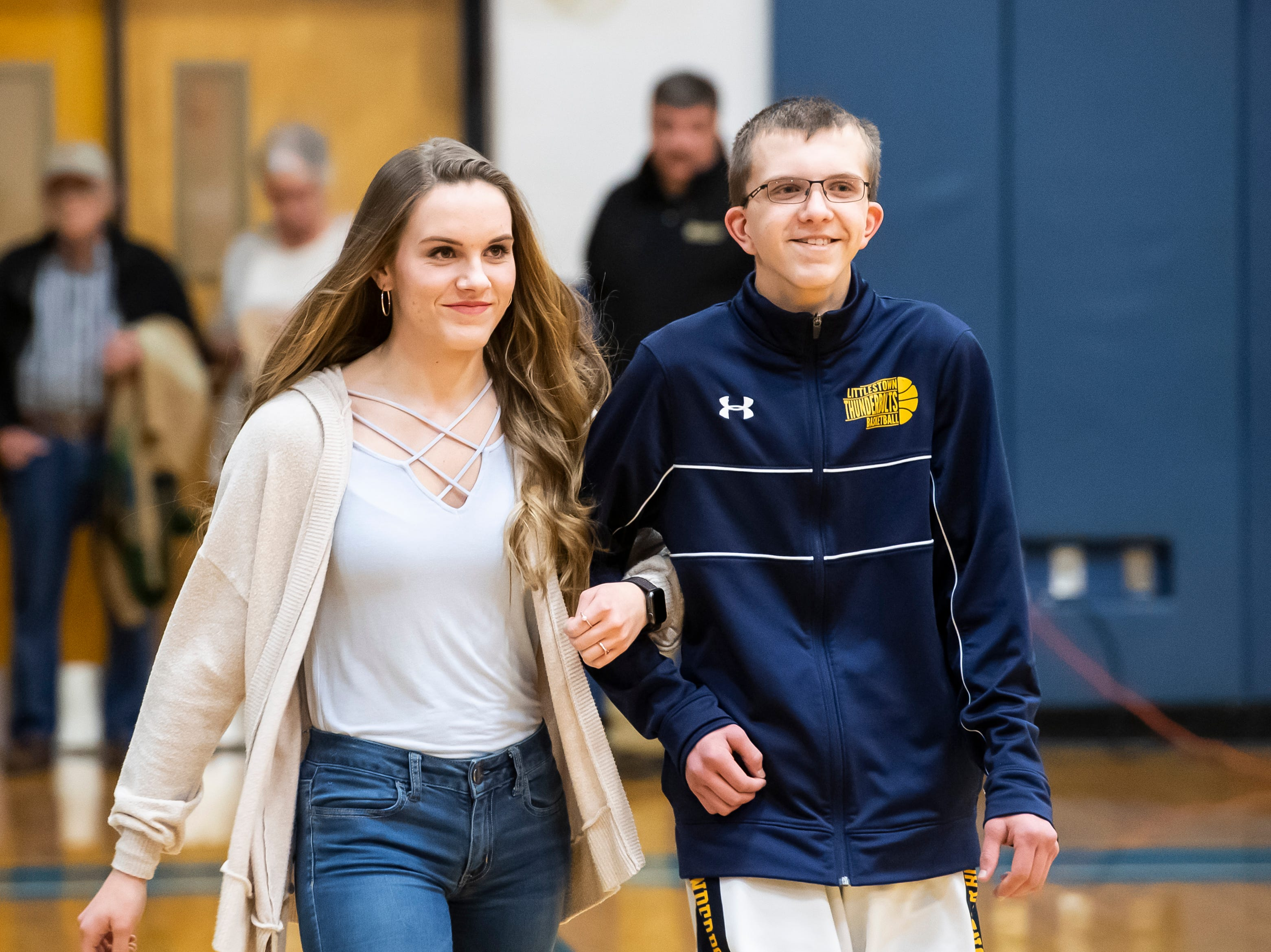 Littlestown's Ben Blankenship is honored during senior night Tuesday, February 5, 2019.