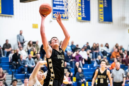 Biglerville's Drew Riley scores on a layup during play against Littlestown Tuesday, February 5, 2019. The Canners fell 54-46.