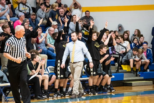 In this file photo, the Biglerville bench reacts after the Canners score a 3-pointer during play against Littlestown Tuesday, February 5, 2019. The Canners fell 54-46.